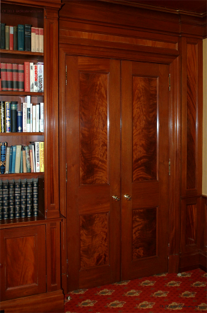 Library: closed bar doors.